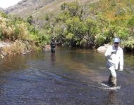 Karl en Rozwi in Jonkershoek River looking for suitable sample site